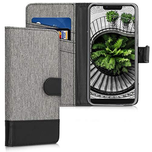 kwmobile Hülle kompatibel mit Wiko View 2 Go - Kunstleder Wallet Hülle mit Kartenfächern Stand in Grau Schwarz
