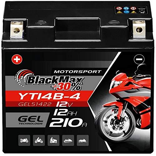 BlackMax GT14B-4 Motorradbatterie Gel 12V 12Ah YT14B-4 Batterie 51422 YT14B-BS