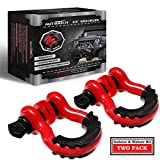 AUTMATCH Shackles 3/4' D Ring Shackle (2 Pack) 41,887Ib Break Strength with 7/8' Screw Pin and Shackle Isolator & Washers Kit for Tow Strap Winch Off Road Jeep Vehicle Recovery Red & Black