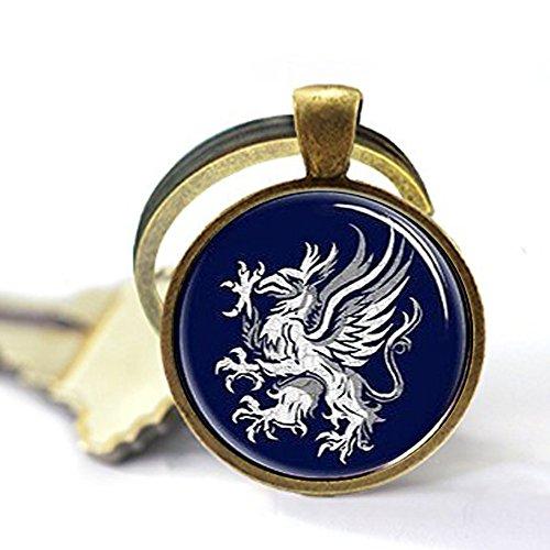 hars Dragon Age Gray Wardens Keychain, Symbol, Logo, Crest Jewelry,Glass Round