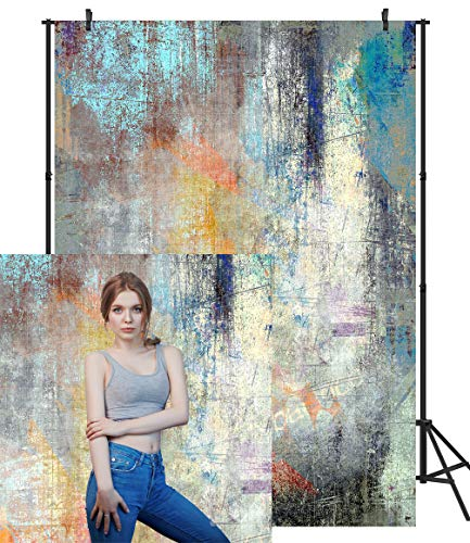DULUDA Color Grunge Scratched Surface Backdrop Retro Art Colorful Portrait Photography Background for Photoshoot Party Supply Decoration Photobooth Photo Studio Prop 5x7ft RT19A