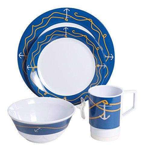 Galleyware Anchorline 16 Piece Melamine Non-Skid Dinnerware Set