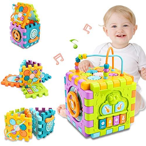 nicknack Cubo de actividades para bebés, 6 en 1 Cubo de juego para niños pequeños Centro de Actividades Cubo Clasificador de Formas para Niños y Niñas de 18 meses en adelante