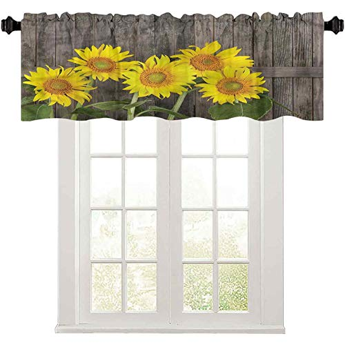 """Print Farmhouse Valance Sunflower,Helianthus Sunflowers 42"""" W x 18"""" L Window Curtains for Kitchen and Bathroom"""