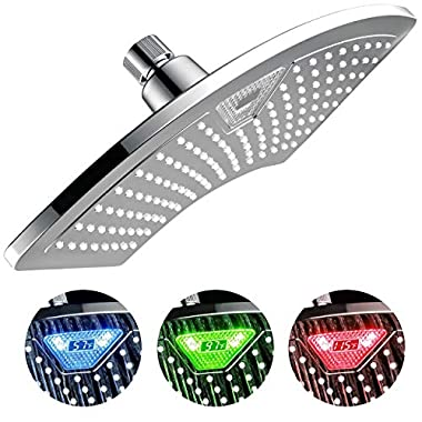 DreamSpa 1489 Aquafan 12 Inch Rainfall Shower-Head with Color-Changing LED/LCD Temperature Display, 12 , Chrome