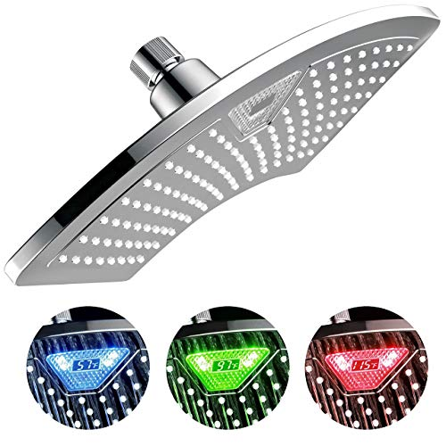 Dream Spa AquaFan 12 inch All-Chrome Rainfall-LED-Shower-Head with Color-Changing LED/LCD Temperature Display