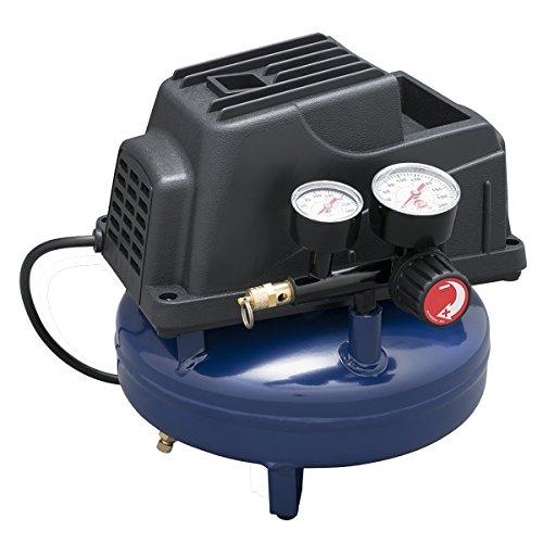 Air Compressor, 1 Gallon, Pancake, Oilless Pump, 110 PSI w/ Recoil Air Hose & Inflation Kit (Campbell Hausfeld FP2028)