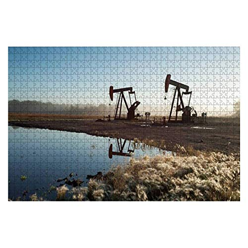 "Jigsaw Puzzles Oil Pumps in The Prairies Manitoba Canada for Kids Adults Educational Intellectual Game Gift Large Puzzle Toys DIY Challenge Indoor - 20""x30""(1000 Pieces)"