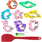 Cookie Cutter Set, Upgraded Newest Fanerfun Sandwich Cutters Dinosaur & Tulip & Star & Heart Shapes, for Kids Kitchen Baking Christmas Festival Vegetables Fruit Cake, with Silicone Spatula(8PCS)