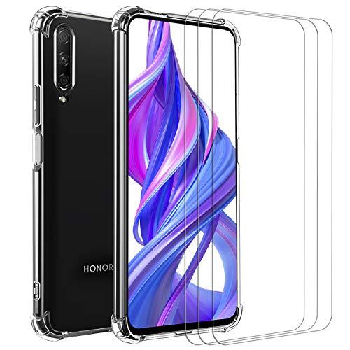 ivoler Funda para Huawei P Smart Pro 2019 / Honor 9X Pro + 3 Unidades Cristal Vidrio Templado Protector de Pantalla, Ultra Fina Silicona Transparente TPU Carcasa Airbag Anti-Choque Anti-arañazos Caso