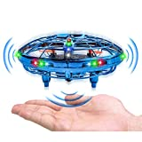 UFO Drones,Hand-Operated Flying Toys with 360 Degree Rotating Flying Drone with 2 Game Modes Rechargeable Mini Drone for Boys & Girls Blue