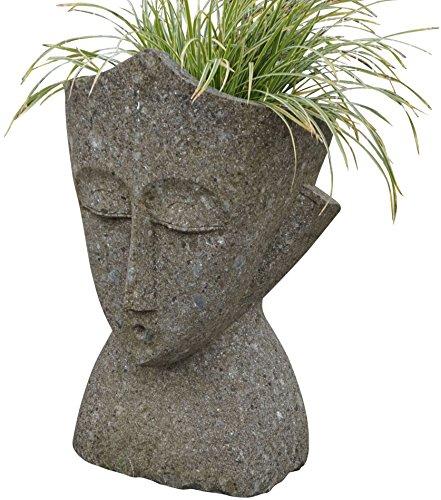 korb.outlet Pflanzkopf Tiki/Kopf aus massivem Natur-Stein im Südsee-Stil/Osterinseln Hawaii Statue für Haus und Garten (85cm)