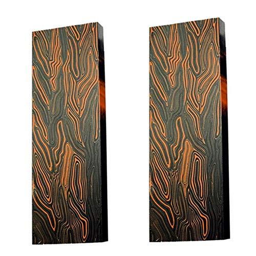 Aibote 2 stück G10 Glasfaser Damaskus Muster Messer Griff Material Waagen Platten Messer Benutzerdefinierte DIY Werkzeug für Messerherstellung Rohlinge Klingen (130X45X8MM, Schwarz Orange)