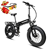 YAMEE Ebike Electric Mountain Bikes Fat Bear Full Suspension Fat Tire Snow Tyre 48V 500W Motor 8 Speed 11.6 Ah Lithium Battery Foldable Electric Bike Adults Assisted EBike