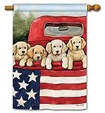 BreezeArt Studio M Patriotic Puppies Decorative Summer Dogs Standard House Flag Banner – Premium Quality, 28 x 40 Inches
