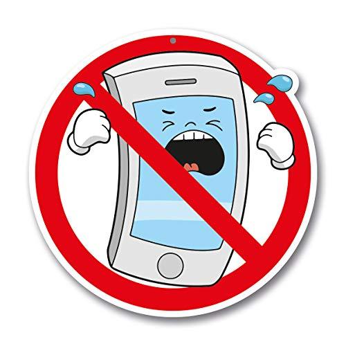PICO signs waarschuwingsbord vrije vorm mobiele telefoon vrije zone diameter 20 cm in stripstijl (vrije vorm) | waarschuwingsbord van aluminium hier geen mobiele telefoon/smartphone | voor binnen en buiten mobiel verboden