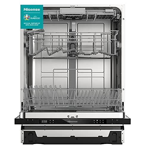 Hisense HV603D40 - Lavavajillas, Completamente integrado, 60 cm, 14 medidas para cubiertos, Protección completa contra desbordamiento