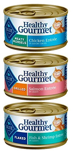 Blue Buffalo Healthy Gourmet Natural Food for Cats 3 Flavor Variety 6 Can Bundle: (2) Meaty Morsels Chicken, (2) Flaked Fish & Shrimp, and (2) Grilled Salmon, 3 Oz. Ea. (6 Cans Total)