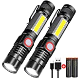 Rechargeable Flashlight, Spriak Magnetic Flashlights with Clip (Included Battery), Side Work Light,...