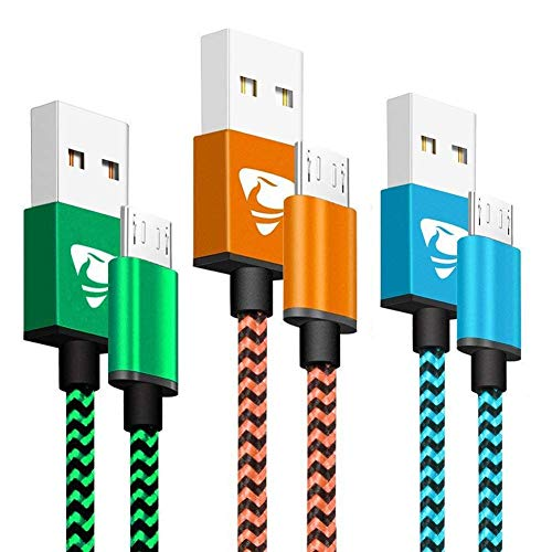 Aioneus Cable Micro USB 1.8m 3 Packs Rápido Cargador Cable Synchronize y Carga USB Compatible con Dispositivos Android, Samsung S7/S6/J7/Note 5, PS 4, Xiaomi, Xbox One, Sony, Nexus y Más (Azul, Naranja, Verde)