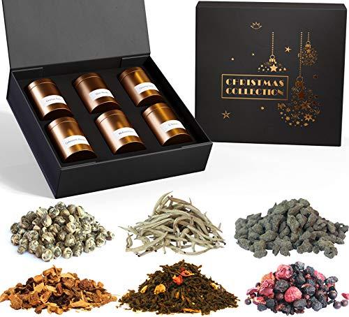 TEEROSE - Tee Geschenkset mit 6 Teespezialitäten wie Weihnachtstee, Weißer Tee, Ginseng Oolong, Drachen Perle und Früchtetee | Tee Geschenk in Geschenkbox nicht nur für die Oma (Weihnachten Silver)