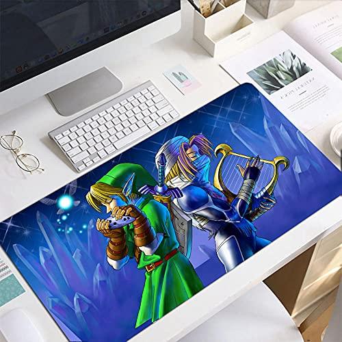 Alfombrillas De Ratón,The Legend of Zelda Anime Escritorio De Cuero De PU Juegos Grueso Anti Fray Base De Goma Antideslizante Tapete para Computadora L 800X400X3mm