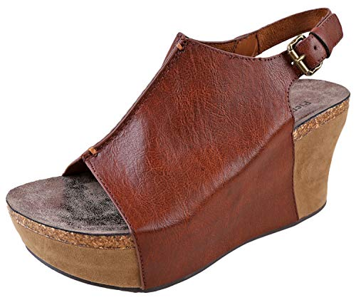 Pierre Dumas Hester-14 Women's Platform Wedge Open Toe Sandals (10, Whiskey)