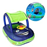 Baby Pool Float with Canopy Summer Steering Wheel Sunshade Swim Ring Car Inflatable Toys Infants Float Seat Boat for Kids Toddlers