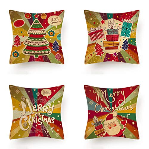 HOUZII Cushion Covers Soft Decorative Square Throw Pillow Cases Merry Christmas decoration Design For Livingroom with Invisible Zipper 17x17 Inches, 45cmx45cm, Pack of 4