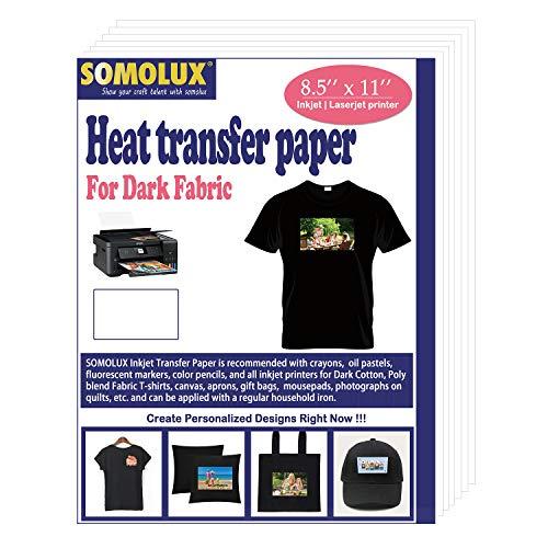 SOMOLUX 8.5''x11'' Premium Inkjet Printable Iron on Vinyl Heat Transfer Paper...