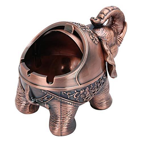 SALUTUYA Cenicero de Escritorio, Vintage a Prueba de Viento, Anti-caída, cenicero,(Standing Elephant Red Copper)