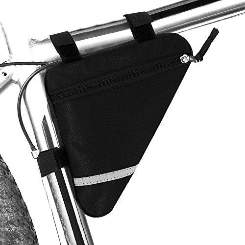 FULARR Bolso Triangular de Bicicleta, Bolsa para Tubo Frontal de Bicicleta, Diseño de Moda Tela Impermeable de PVC, La Decoración Reflectante a Doble Cara Hace que La Noche Sea Más Segura—Negro