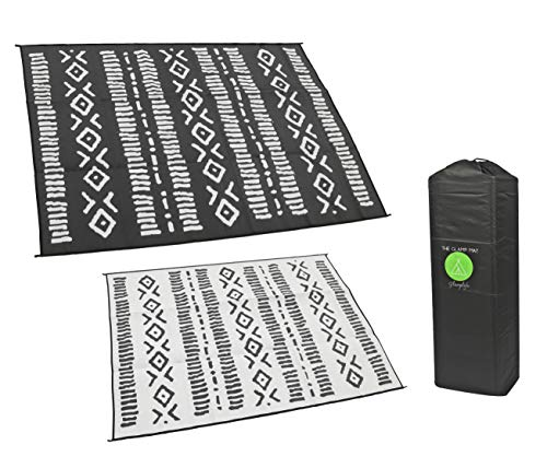 Glamplife RV Mat - Recycled Reversible RV Rug - Camping Rugs for Outside Your RV - 9x12 Black and White Tribal - Large Outdoor Rugs for patios or awnings - Portable mat - Waterproof Rug