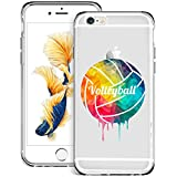 Volleyball Painting iPhone 6s 6 Clear Case,Ultra-Thin Transparent Soft Protection Cover,Personal Customization Hybrid Drop Flexible Shockproof Case