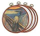 4 Pieces 5 Inch Round Embroidery Hoops Circle, Cross Stitch Hoop Ring, Imitated Wood Display Frame Circle for Art Craft Sewing and Hanging OrnamentsI