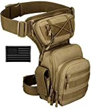 Protector Plus Tactical Drop Leg Bag Military Tool Gear Fanny Thigh Pack Utility Airsoft Motorcycle Cycling Waist Gear Pouch (Patch Included), Brown