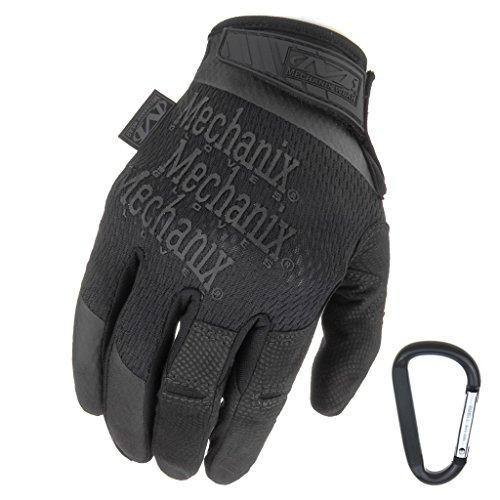 MECHANIX WEAR Specialty High Dexterity 0.5mm 2017, Taktische Einsatz-Handschuhe, atmungsaktiv & ergomisch + Gear-Karabiner, Schwarz, Coyote/Größe S, M, L, XL (M, Schwarz)