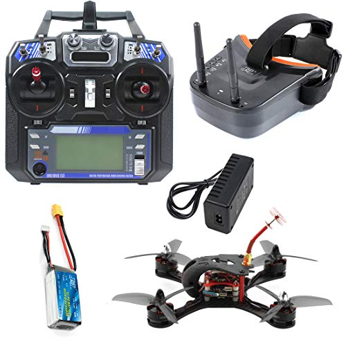 FEICHAO T180 4 Pulgadas FPV Racing Drone Cámara HD Baby Turtle 800TVL Betaflight F4 Pro V2 OSD sin escobillas 3S 2.4G 6CH RC Quadcopter RTF (with Battery and Goggle Black)