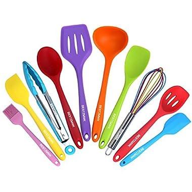 BESTZMWK Kitchen Utensil Set - 10 Cooking Utensils - Colorful Nonstick Cookware Silicone Kitchen Utensils with Spatula Set - Colored Best Kitchen Tools Kitchen Gadgets