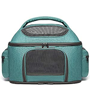 Pet Tote Hand Bag Message Bag Soft Sided Pet Carrier Bag for Cat Puppy, Airline Approved Soft Sided Pet Carrier for Cats and Dogs Portable Cozy Travel Pet Bag, Car Seat Safe Carrier (Green)