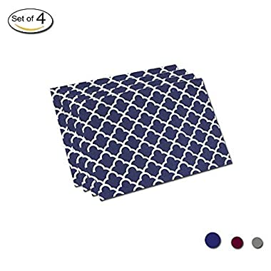 Eforcurtain Set of 4 Navy Blue Fabric Table Mat Oil Proof Stain Resistant, Modern Elegant White Geometric Floral Placemats Reversible Waterproof, 13 x 19 Inch