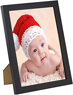 Higustar 4x6 Picture Frame Made by Solid Wood for Table Top Display and Wall Mounting Photo Frame Black