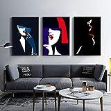 DMPro Wandkunst Bild Abstrakte Black & White Leinwand Malerei Wohnkultur Moderne Liebe Paar Nordic Sexy Frauen Malerei für Wohnzimmer 50X70 cm Kein Rahmen x3