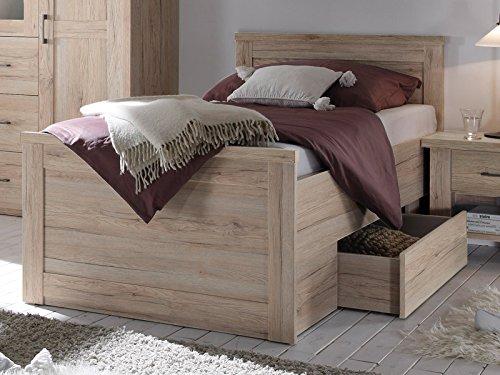 möbelando Bett Jugendbett Bettgestell Kompaktbett Bettrahmen Einzelbett Lebbie II San Remo Eiche
