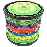 SXSHUN 1000 Meter Angelschnur 4-Fach Premium PE Geflochtene Schnüre Fishing Line Super Braided Multicolor, 0.14mm/7kg/15lb