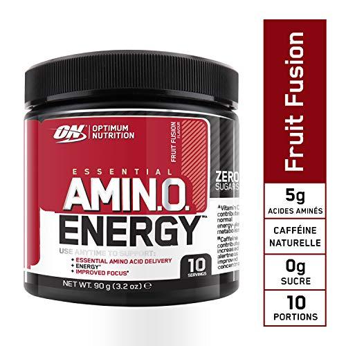 Optimum Nutrition Amino Energy, Pre Workout Booster Avec Bêta-Alanine, Cafeine, Acides Aminés et Vitamine C, Fruit Fusion, 10 Portions, 90 g