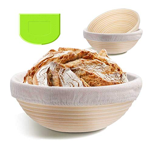 2 Pack 9 Inch Bread Banneton Proofing Basket - Baking Dough Bowl Gifts for Bakers Proving Baskets for Sourdough Lame Bread Slashing Scraper Tool Starter Jar Proofing Box