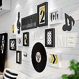 Marcos de cuadros Conjunto de 26, Marco de la música elemento de la foto mural de varias paquete Photo Gallery fijado en pared Kit 8 11.6X15.5Cm adecuados, 2 15.7X20.8Cm Adecuado,Negro