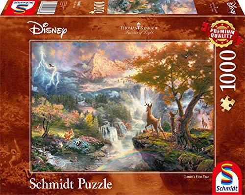 Schmidt Spiele 59486-Puzzle Thomas Kinkade, Disney Bambi, 1000 pezzi, Multicolore, 59486