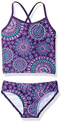 Kanu Surf Girls' Big Beach Sport 2-Pc Banded Tankini Swimsuit, Melanie Purple, 10